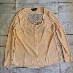 Nasty Gal Nude Pink Open Back Button Top size XS